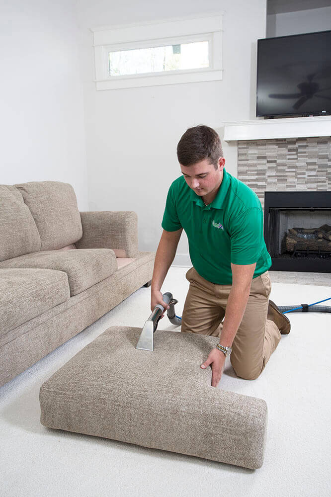 chem-dry tech cleaning upholstery in Tulsa