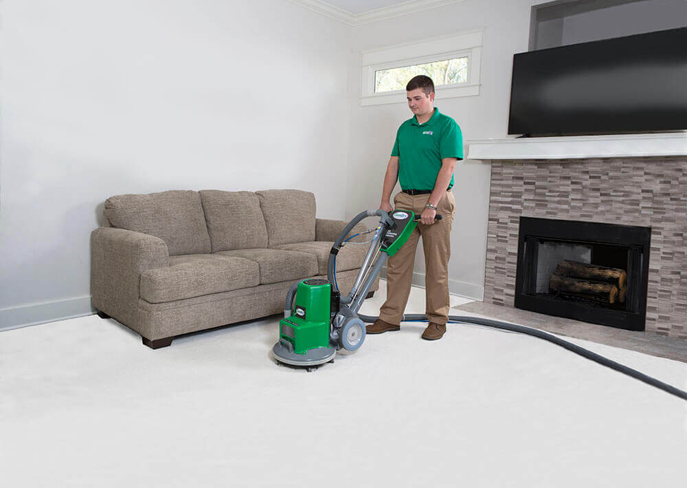 Jeff's Chem-Dry tech cleaning carpet in Tulsa