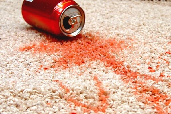 soda can stain on white carpet