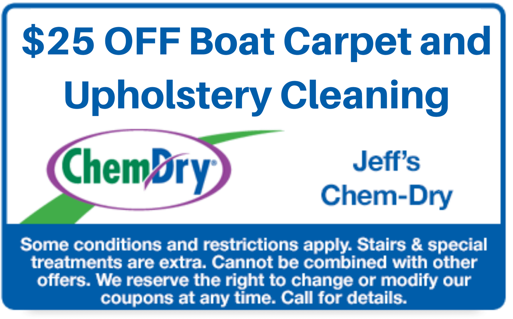 $25 off boat carpet and upholstery cleaning coupon